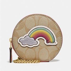 Coach Round Coin Case Sig Canvas Rainbow Motif